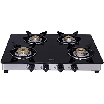 Elica Vetro Glass Top 4 Burner Gas Stove with Double Drip Tray (694 CT DT VETRO)