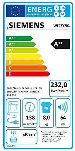 Siemens iQ800 WT47Y701 iSensoric Premium-Wärmepumpentrockner / A++ / 8 kg / Weiß / Selbstreinigender Kondensator / SoftDry-Trommelsystem / TFT-Display - 3