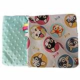 Feder Traumfänger Minky Babydecke Kuscheldecke Krabbeldecke Decke Super weich und flauschig Handarbeit (50x75cm, Türkis Katzen)
