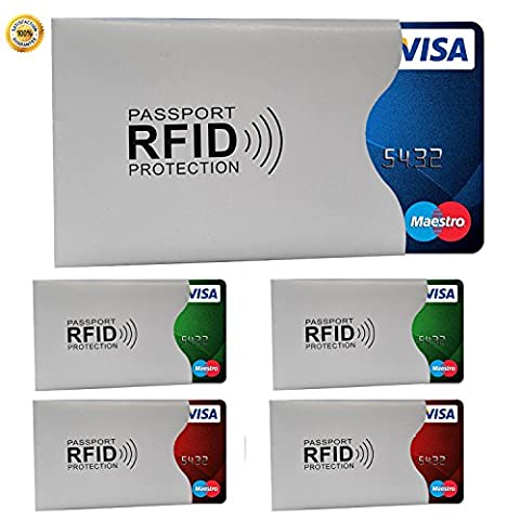 100% sécurité RFID & NFC Etui Housse (Lot de 5) 90x 58mm/140x 97mm Blocking Carte Pochettes pour cartes de crédit, carte de crédit, carte d'identité, permis de conduire, carte d'assurance 90 x 57 mm