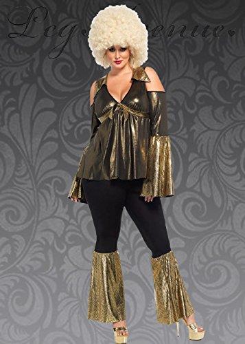 8in1 Womens Plus Größe Gold 70er Jahre Disco Diva Kostüm 1X/2X (UK ()