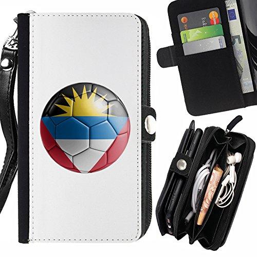 STPlus Bandera y balón antiguos del equipo de fútbol de Antigua y Barbuda Monedero Con Correa y Cremallera Carcasa Funda para Sony Xperia XA Ultra