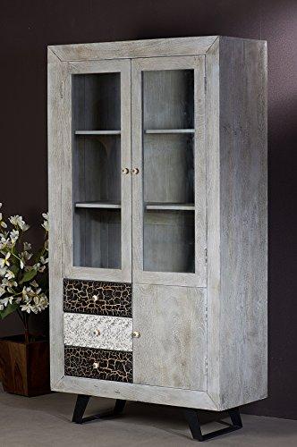 The Wood Times Wohnzimmerschrank Massiv Vintage Look Cell Mangoholz, BxHxT 100x185x42 cm - 4