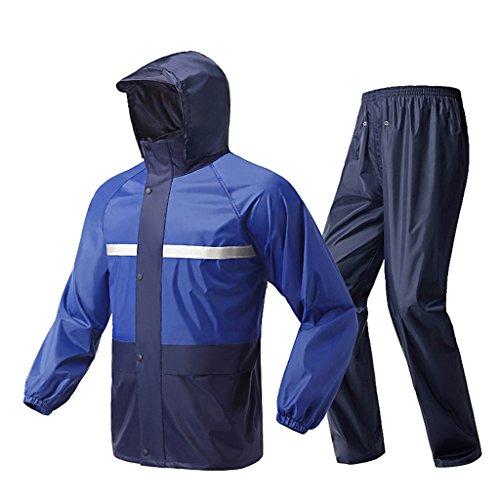 LAXF-Regenjacken Regenanzug für Männer und Frauen Wiederverwendbare Regenkleidung (Regenjacke und Regenhosen Set) Erwachsene Wasserdicht regendicht Winddicht mit Kapuze (Größe : XXL)