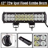 HYLH 12 Pollici 72W LED Light Bar Lampada da Lavoro Spot & Flood Combo Fascio di Camion Veicoli Fuoristrada Lampada di Guida Bianco Luminoso Impermeabile 9V-32V