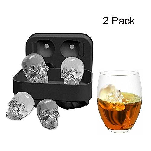 MIMINUO 3d Tête de mort souple en silicone Moule Bac à Glaçons, Lot de 4 moules à glaçons/chocolats en forme de têtes de mort,machine à glaçons en formes pour glace de whisky et cocktails (2 Pack)