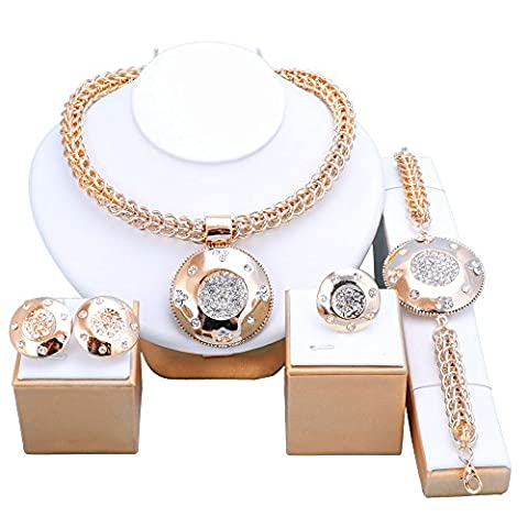 OUHE African Wedding Bridal Costume Jewelry Set Dubai Indian 18K Gold Plated Necklace Set