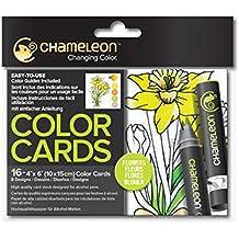 Camaleón cartas de colores–flores