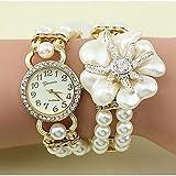 Fenkoo Damenmode Kristall Perle Blume Form Weben Armbanduhr (farbig sortiert)