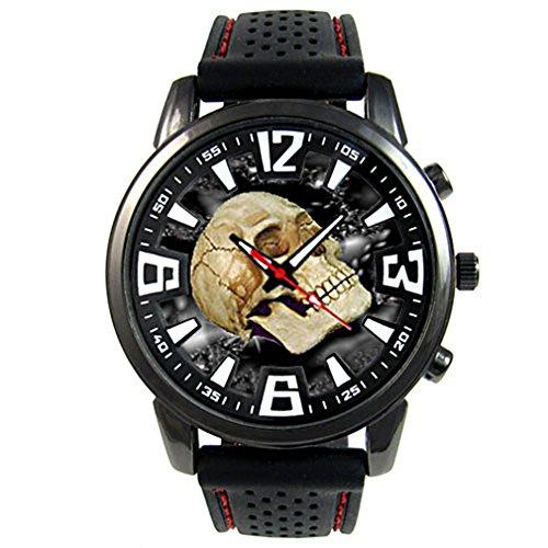 Timest - Skull - Herrenuhr mit schwarzem Silikonarmband Rund Analog Quarz CSF031