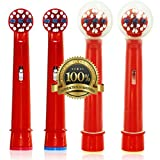 Drkao for Oral B Toothbrush Heads with 2 Head Covers for Children Replacement Toothbrush Heads Kids Electric Toothbrush Heads for Children for Oral B Replacement Heads Kids for Oral-b 4 Pack