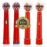 Dr. kao - Pack de 4 cabezales para cepillo de dientes eléctrico con 2 cabezales para los niños cabezales de cepillo - fabricado con grado superior Dupont Nylon cabezales de cepillo de dientes