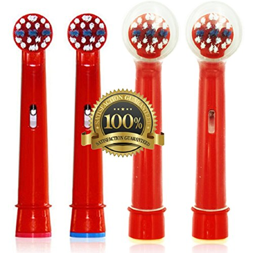 Dr. Kao confezione da 4testine con 2teste di spazzolino bambini Kids in grado superiore con DuPont nylon spazzolino elettrico per bambini standard per testine Oral B Kids 4Pack eb-10a (4)