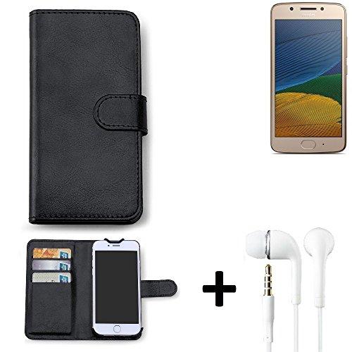 K-S-Trade Hülle für Lenovo Moto G5 Single-SIM Schutz Wallet Case Walletcase schwarz Handytasche Klapphülle inkl. Kopfhörer in Ear Headphones