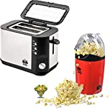 BMS Lifestyle Stainless Steel 2-Slice Extra Wide Slot Pop-up Toaster, Black And Ilo-101 Hot Air Popcorn Popper Electric Machine