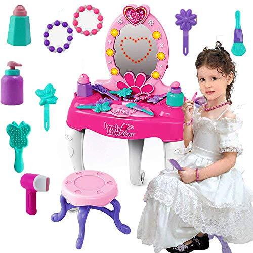 Hamkaw Tocador para niñas con Espejo, tocador de Princesa, Mesa de tocador...