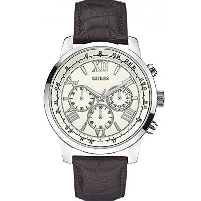 Guess W0380G2 - Reloj de cuarzo para hombre, correa de cuero color marrón