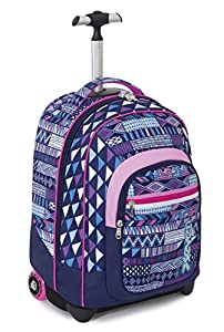TROLLEY FIT - SEVEN - ETHNIC - 2in1 Wheeled Backpack with Disappearing Shoulder Straps - Violet 35Lt by Seven