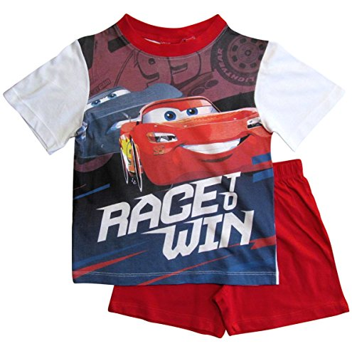 Cars Disney 3 Kollektion 2018 Ökotex Standard 100 Schlafanzug 92 98 104 110 116 122 128 Pyjama Kurz Shortie Shorty Lightning McQueen Jungen (Weiß-Rot, 110-116)