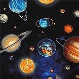 Schwarzer Stoff mit Planeten und Weltraum von Robert