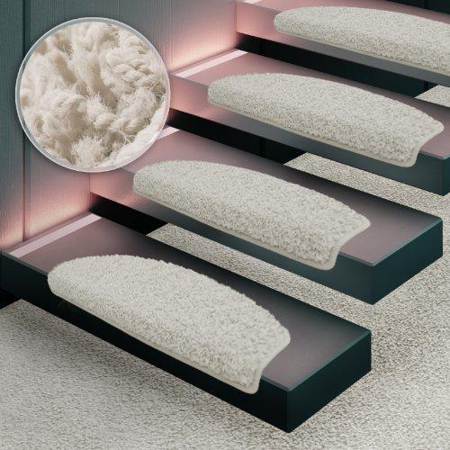 Shaggy Stufenmatten Premium S Line | 15 Stück Set | Creme