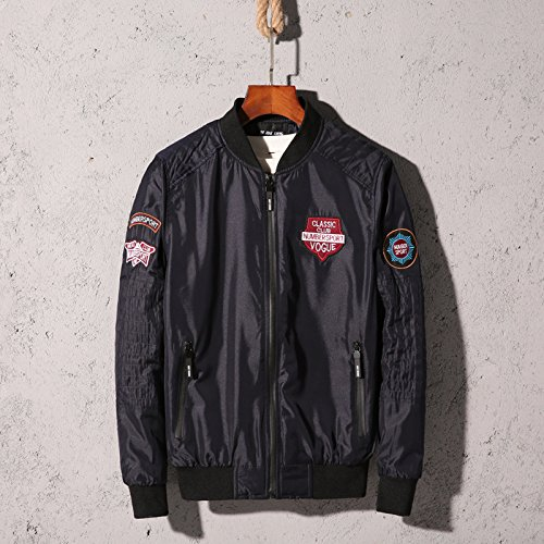 Jacke Leder Aviator Jungen (Kragen Jacke Freizeitaktivitäten Baseball Kragen Jacke Herren Jacke Aviator Jacke Herren Übergrößen Mantel, Blau, XL)
