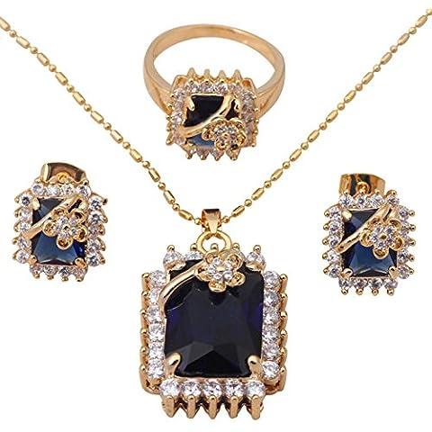 Moda Bling Cristallo Blu Placcato Oro Giallo 18K Set di gioielli collana e orecchini misura anello 8,587Fashion Jewelry