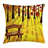 ABAKUHAUS Foresta Copricuscino, Cartoon Albero E Panchina, Decorativo, Stampato su Entrambi i Lati, 60 x 60 cm, Giallo Terra di Siena Bruciata Brown