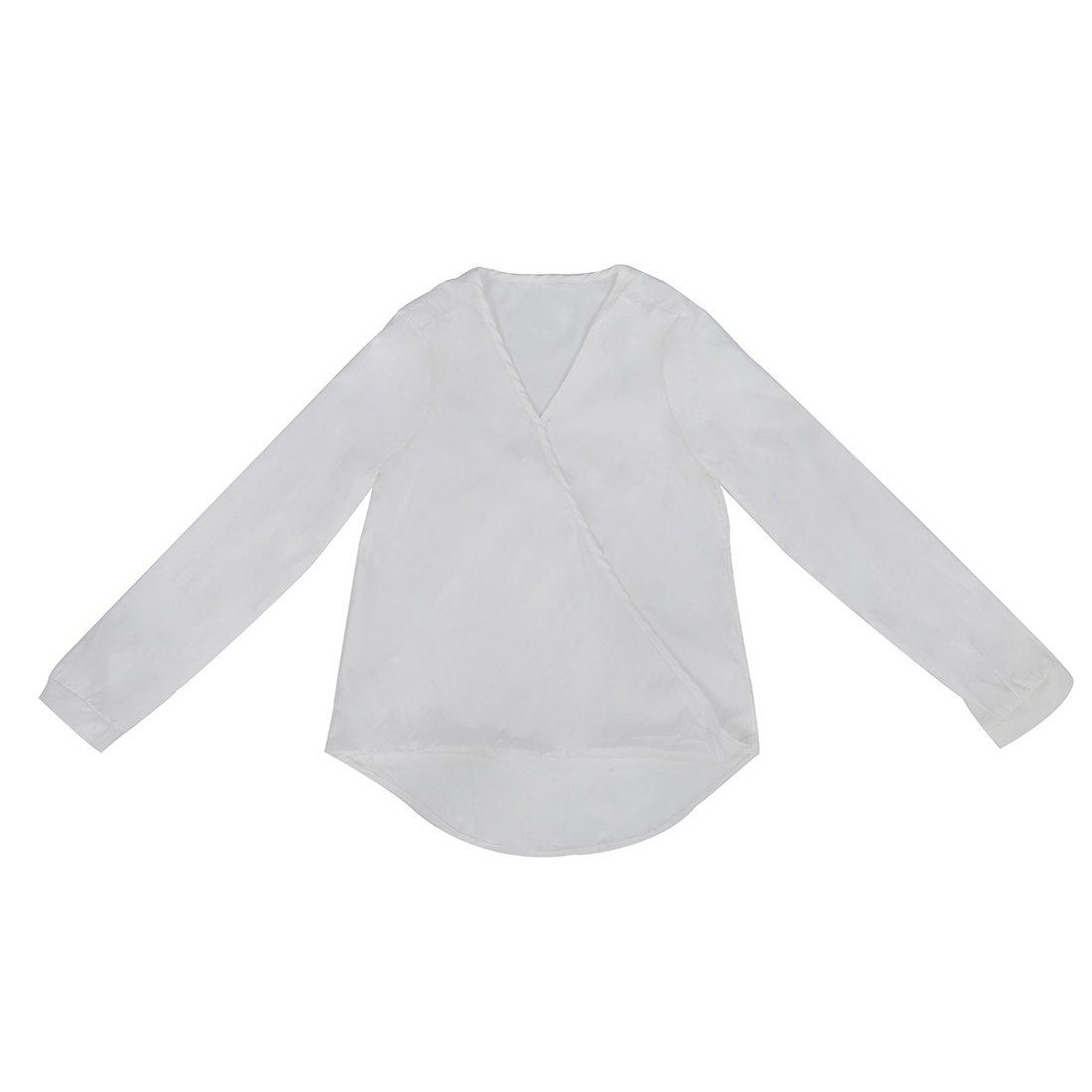 TOOGOO(R) Camicia chiffona lunga del manicotto del V-collo sexy delle donne con la maglietta felpata