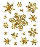dpr. Fensterbild Set 17-Teilig Schneeflocken Eiskristalle Gold Eisblumen Sterne statisch haftend Weihnachten Winter Fenstersticker Aufkleber Fensterdekoration