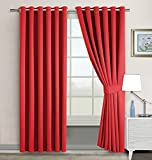 Window blinds Blackout Eyelet Curtains IMPERIAL ROOMS Pair of thermal readymade ( Red / 90x90 ) Ring top for Window treatments Living Rooms Doors Energy saving with Two Tie Backs