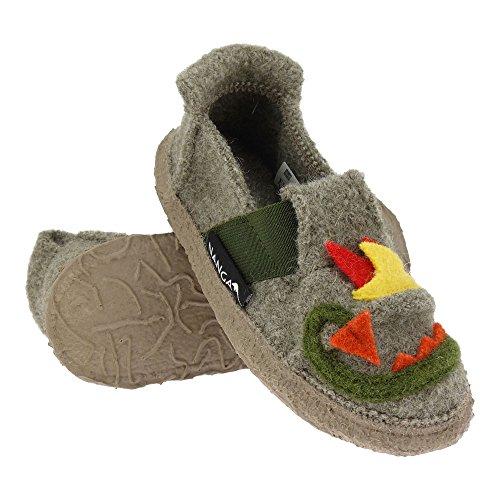 GALLUX - Nanga Kinder Hausschuhe tolle Pantoffeln aus Bio Schurwolle und Natur Kautschuk Hellgrau
