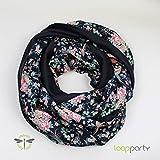Loop-Schal Damen schwarz Blüten
