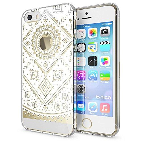 iPhone SE 5 5S Hülle Handyhülle von NICA, Slim Silikon Motiv Case Schutzhülle Dünn Durchsichtig, Etui Handy-Tasche Back-Cover Transparent Bumper für Apple iPhone 5 5S SE, Designs:Deer Pattern