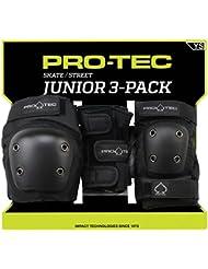 Pro-Tec Street Junior 3 Pack Protectores, Unisex Niños, Negro, S