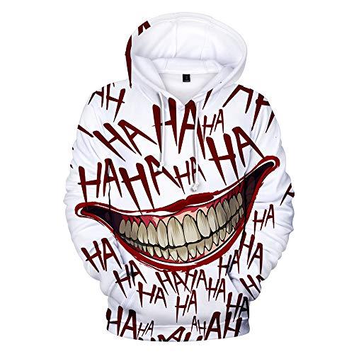 Mädchen Kostüm Ein Teenager Für - Haha Joker Kapuzenpullover mit 3D-Druck, Unisex, Crazy Bloody Smile Hip Pop, Kapuzenpullover, für Halloween, Kostüm, Party, Neuheit Gr. Large, weiß