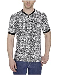 Pintapple Printed Ultra Premium Cotton Lycra Half Sleeve Henley Neck T-Shirt For Men - B01DY9HRH2