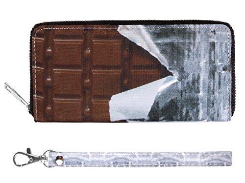 Portafoglio con applicazioni divertenti, chiusura zip, portamonete per donne e uomini, borsellino disegni a scelta, borsa scomparti soldi carta credito custodia protettiva elegante, ALSINO, Seleziona: BT-174 cioccolato