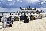 Artland Qualitätsbilder I Wandtattoo Wandsticker Wandaufkleber 60 x 40 cm Landschaften Strand Foto Blau C1EX Seebrücke in Ahlbeck auf der Insel Usedom