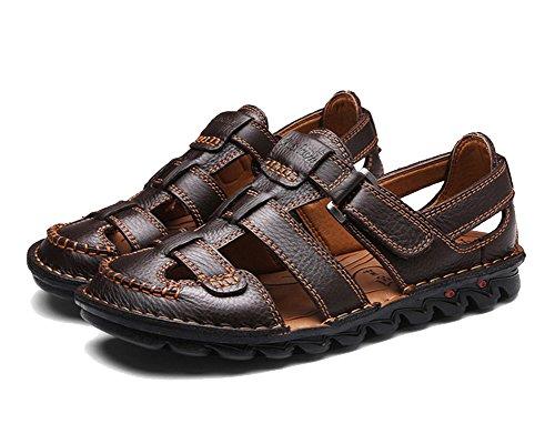 Uomo sandali da lavoro in pelle sandali da passeggio a punta chiusa sandali da passeggio casual traspiranti marrone scuro 40