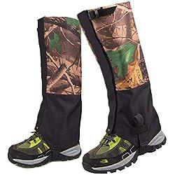 FAMLYJK Polainas de Pierna de Caza, Polainas de Botas de Senderismo Impermeables Cubiertas de Zapatos de Nieve de Camuflaje, Polainas de Botas de esquí protegen Legging para Hombres y Mujeres
