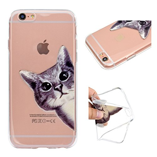 Custodia per iPhone 6 Plus, per iPhone 6S Plus Cover, ZCRO Custodia in Silicone Trasparente TPU Colorata Modello Ultra Slim Disegno Case Gomma Morbida Antigraffio Bumper Caso Cover Protezione con Penn Gatto carino