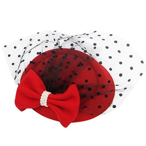 Haare Rote Frau Für Kostüm - HowYouth® Damen Mesh Netz Blume Pillbox Haarspange Fascinator Hut Hochzeit Cocktail Derby (Rot)
