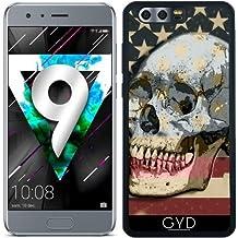 Funda de silicona para Huawei Honor 9 - Bandera Americana Sobre El Cráneo by Blingiton