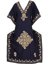 LA LEELA Mujeres caftán Rayón túnica Bordado Kimono Libre tamaño Largo Maxi Vestido de Fiesta para Loungewear Vacaciones…