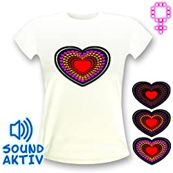LED-Fashion - Camiseta, diseño de corazón con luces LED blanco blanco Talla:small