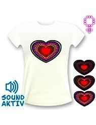 LED-Fashion - Camiseta, diseño de corazón con luces LED blanco blanco Talla:small