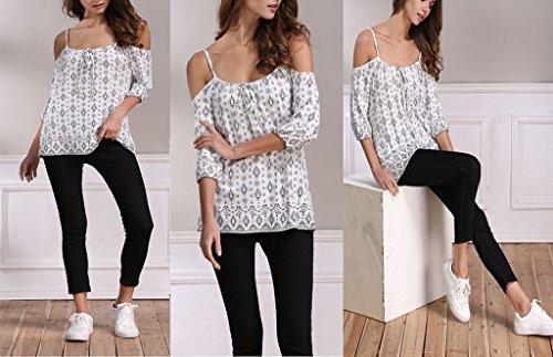 Smile YKK T-shirt Epaule Nue Femme Chemise Manche 3/4 Blouse Imprimée Top à Bretelle Eté Mode Multicolore