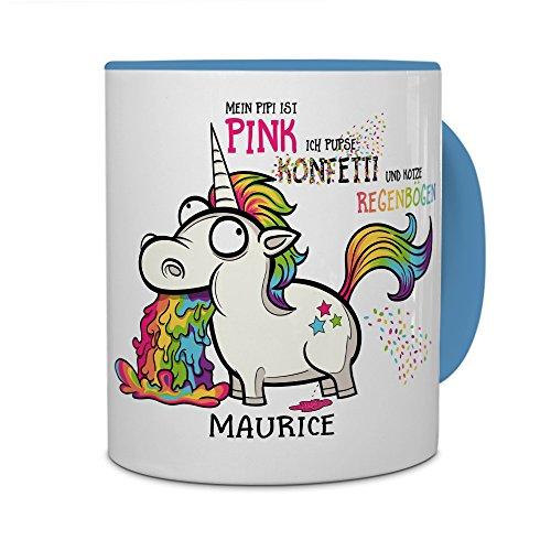 PrintPlanet® Tasse mit Namen Maurice - Motiv Einhorn - Namenstasse, Kaffeebecher, Mug, Becher, Kaffeetasse - Farbe Hellblau