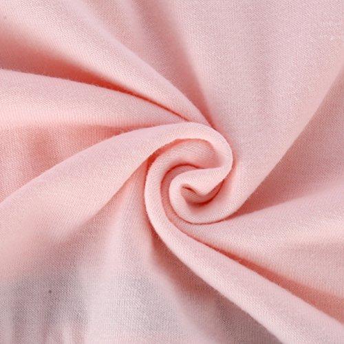 ISASSY Damen Langarm Bluse Lose Shirt Oberteil Tops Sweatshirt mit Rücken V-Ausschnitt Rosa+Grau